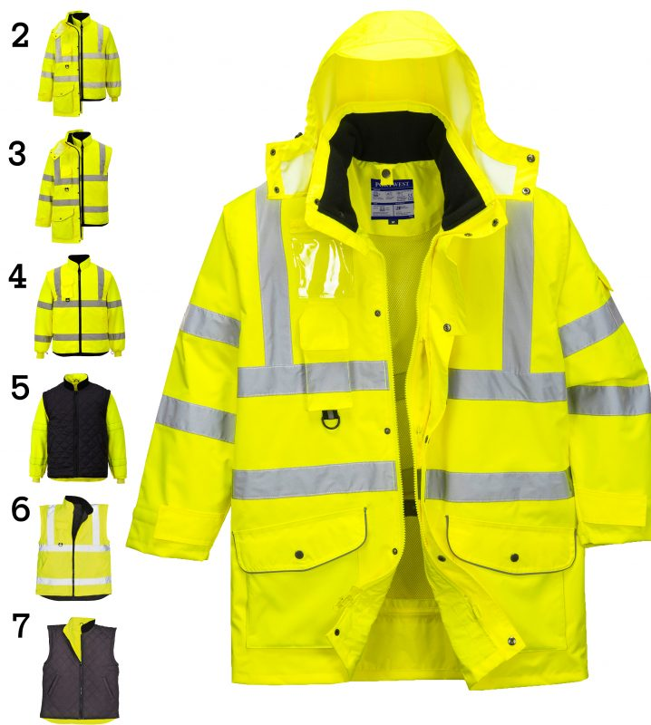 Portwest US427 High Visibility 7-in-1 Traffic Jacket, all