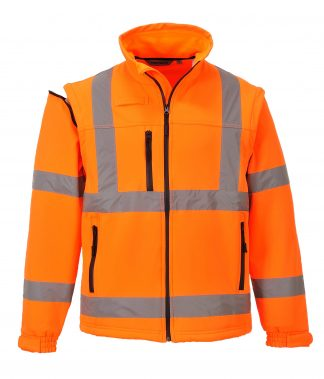 Portwest US428 Men's High visibility Soft Shell Jacket, Orange, Front Removable Sleeves