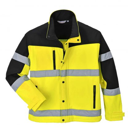Portwest Men's High Visibility Softshell Jacket, Yellow open