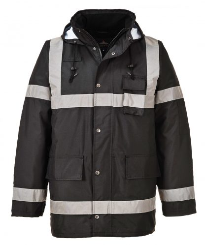 Portwest US433 Black, Reflective Winter Jacket