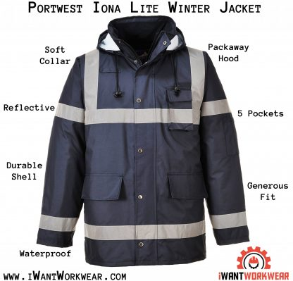 Portwest US433 Navy, Reflective Winter Jacket, iwantworkwear infographic