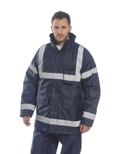 Portwest US433 Navy, Reflective Winter Jacket, on body