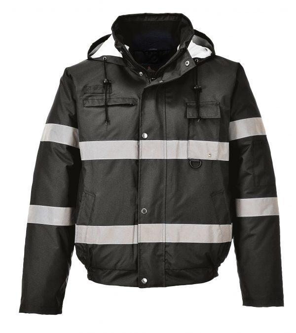 Portwest US434 Iona Lite Reflective Winter Jacket, Black