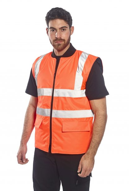 Portwest US469 High Visibility Insulated Vest, Reversible, Orange on body