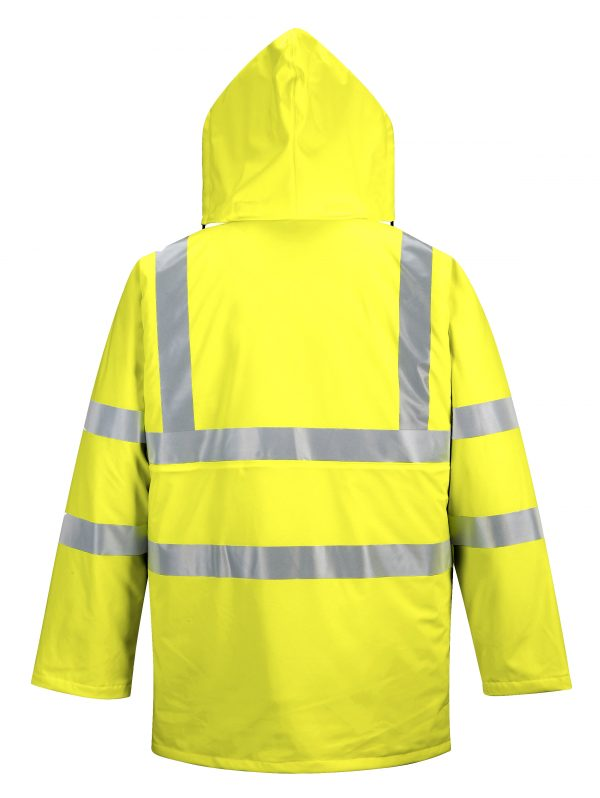 Portwest US490 High Visibility Insulated Rain Jacket, Yellow Rear
