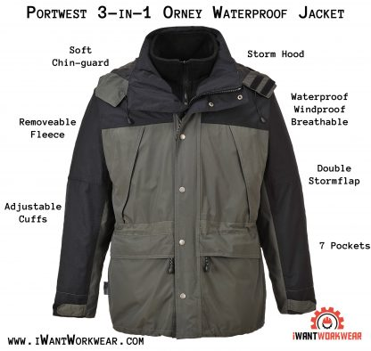 Portwest US532 Men's 3-in-1 breathable jacket, iwantworkwear infographic