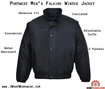 Portwest US533 Men's Falkirk Winter Jacket, Black, iwantworkwear infographic
