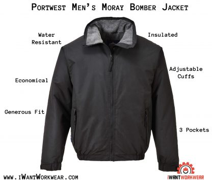 Portwest Men's Moray Insulated Bomber Jacket, iwantworkwear infographic