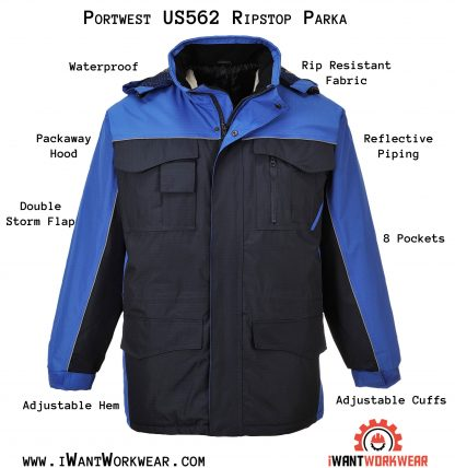 Portwest US562 Men's Ripstop Winter Jacket, Navy, iwantworkwear.com