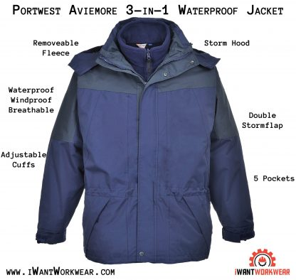 Portwest US530 Men's Arbroath Winter Jacket, Navy, iwantworkwear infographic