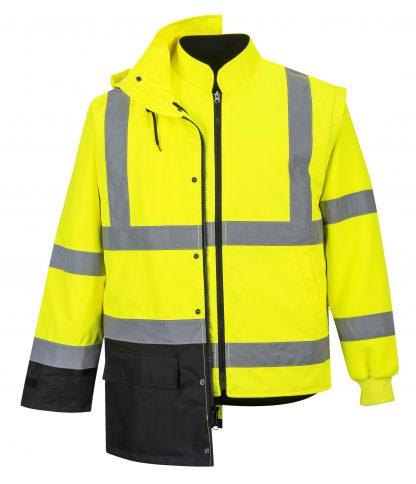 Portwest 5-in1 High Visibility Jacket, Yellow Black 3