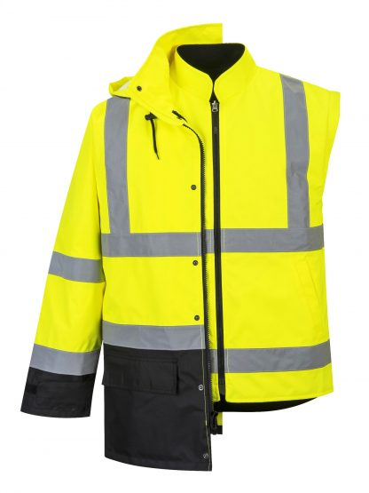 Portwest 5-in1 High Visibility Jacket, Yellow Black 2