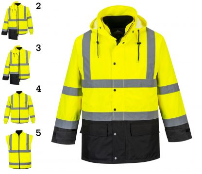 Portwest 5-in1 High Visibility Jacket, Yellow Black, all