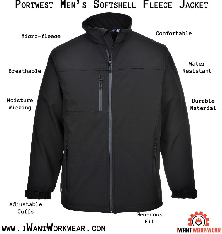 Portwest UTK50 Softshell Fleece Jacket, Black, iwantworkwear infographic