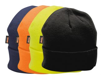 Portwest b013 insulated winter beanies, available in orange, yellow, black or navy