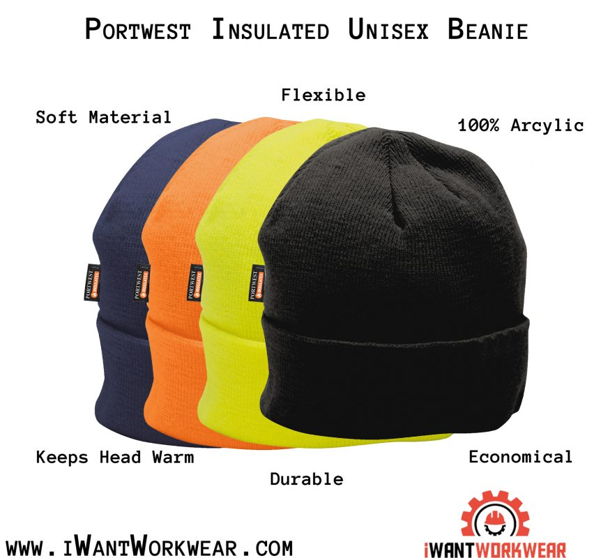 Portwest B013 Insulated Winter Cap, iwantworkwear infographic
