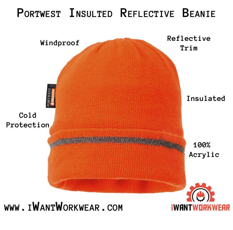 Portwest Insulated Reflective Beanie, Orange iwantworkwear infographic