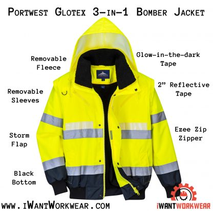 Portwest G465 Glow-in-the-dark High Visibility 3-in-1 Bomber Jacket, iwantworkwear infographgic