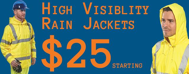 High Visibility Rain JAckets ,$25 and up