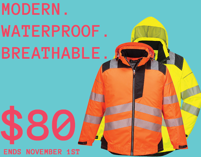 Portwest T400 PWR Modern Waterproof Breathable Rain Jacket, High Visibility Reflective