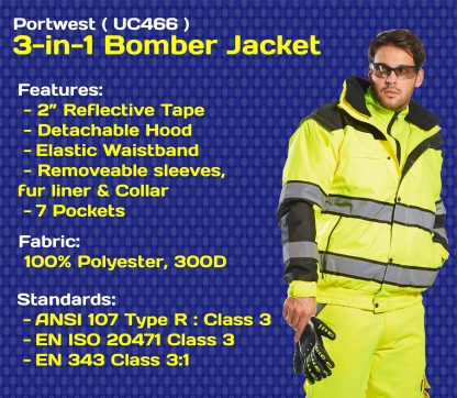 Portwest UC466 Classic 3-in-1 High Visibility Jacket