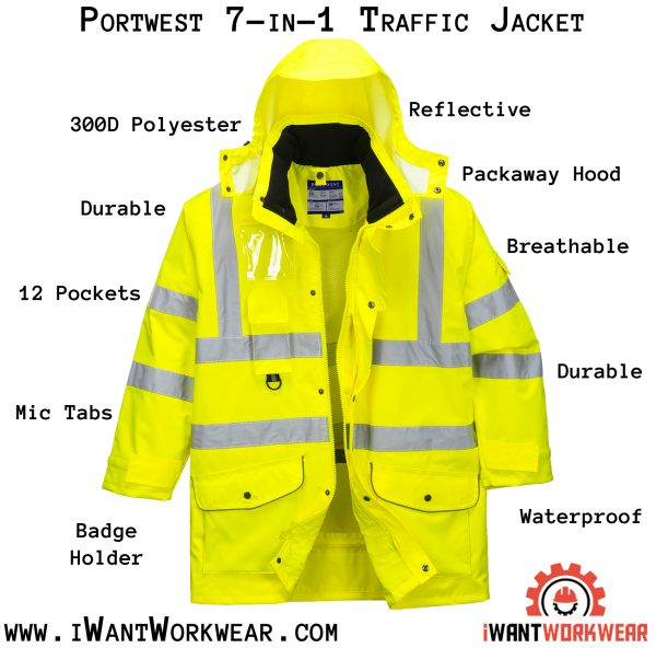 Portwest US427 High Visibility 7-in-1 Traffic Jacket, iwantworkwear infographic
