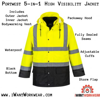 Portwest 5-in1 High Visibility Jacket, Yellow Black