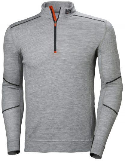 HH LIFA MERINO Half Zip Thermal Shirt - Helly Hansen 75109, Gray, Front