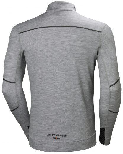 HH LIFA MERINO Half Zip Thermal Shirt - Helly Hansen 75109, Gray, Back