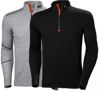 HH LIFA MERINO Half Zip Thermal Shirt - Helly Hansen 75109, Black or gray