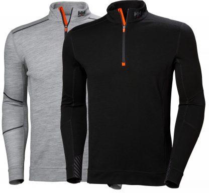 HH LIFA MERINO Half Zip Thermal Shirt - Helly Hansen 75109, Black or gray