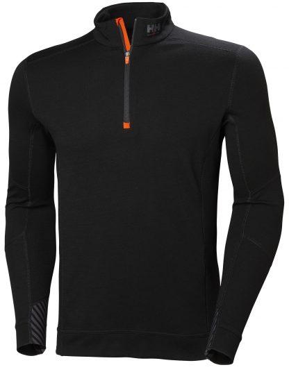 HH LIFA MERINO Half Zip Thermal Shirt - Helly Hansen 75109, Black, Front