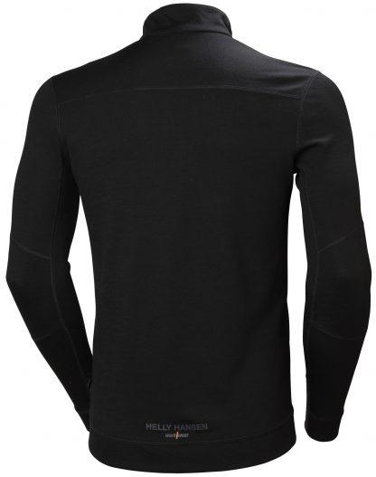 HH LIFA MERINO Half Zip Thermal Shirt - Helly Hansen 75109, Black, Back