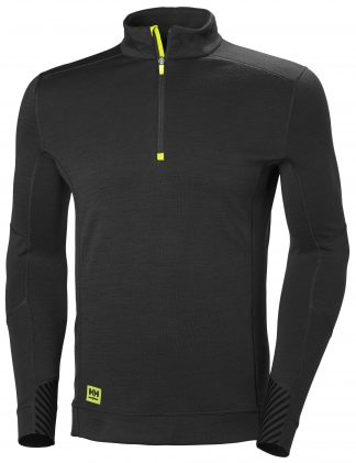 HH LIFA Half Zip Thermal Underwear - Helly Hansen 75109, Black, Front