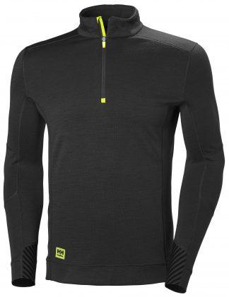HH LIFA Half Zip Thermal Underwear - Helly Hansen 75109, Black, Front