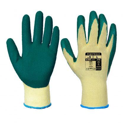 Grip Glove - Portwest A100 Latex Palm, ANSI Abrasion A2, Green
