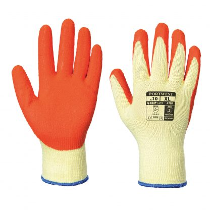 Grip Glove - Portwest A100 Latex Palm, ANSI Abrasion A2, Orange