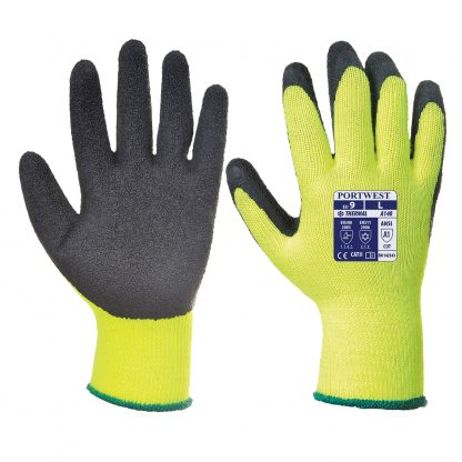 Insulated Grip Glove - Portwest A140, Yellow, Both front and back