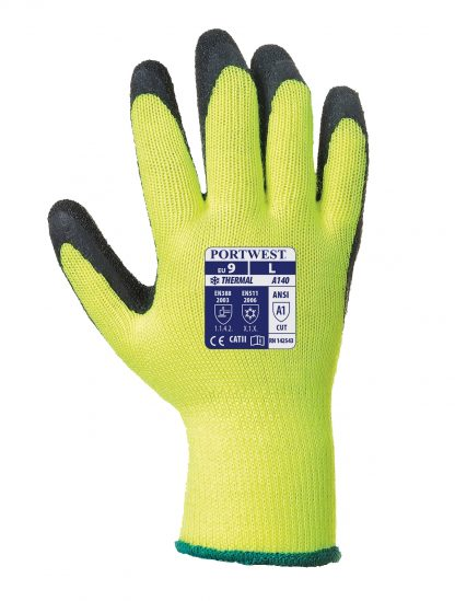 Insulated Grip Glove - Portwest A140, Yellow, Acrylic Liner