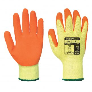 Grip Glove - Portwest A150 Recycled Cotton, ANSI Abrasion A1, front and back