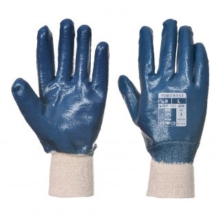 Waterproof Grip Glove - Portwest A300 Nitrile Knit, ANSI Abrasion A3, front and back
