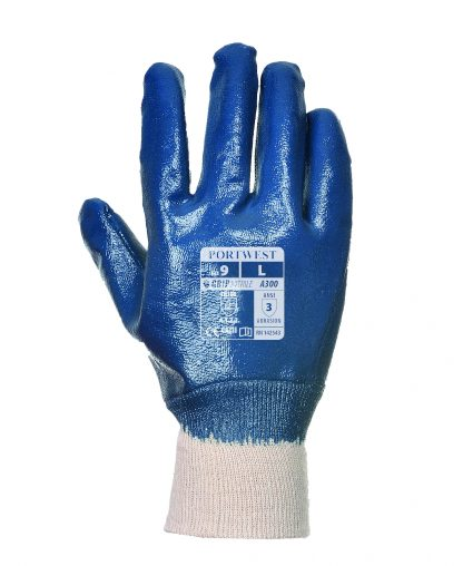 Waterproof Grip Glove - Portwest A300 Nitrile Knit, ANSI Abrasion A3, full dip