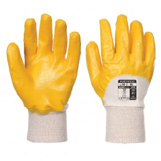 Grip Glove - Portwest A330 Lightweight Nitrile, ANSI Abrasion A1, Nitrile Lightweight Knitwrist, Front and Back