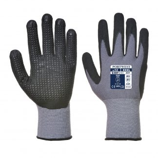 Grip Glove - Portwest A351 Dermiflex+, PVC Dotted Palm, Front and Back