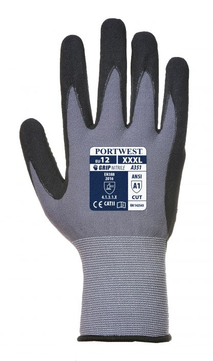 Grip Glove - Portwest A351 Dermiflex+, PVC Dotted Palm, Nylon Shell, PU/Nitrile Palm