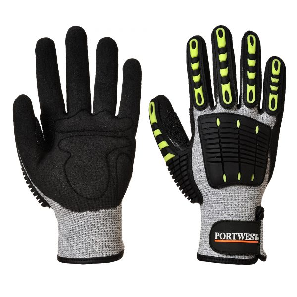 Portwest A722 Impact Resistant, Cut Resistant Work Gloves with TPR Knuckles both