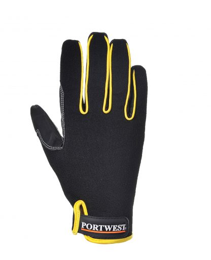 Portwest A730 Supergrip Mechanic Glove, Black, Back of glove