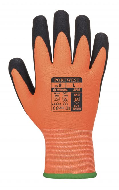 Portwest AP02 Thermo Pro Insulated Grip Glove, Waterproof. back of glove