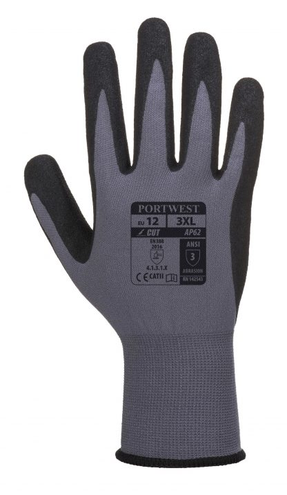 Portwest AP62 Dermiflex Waterproof Grip Glove, Black, back of glove