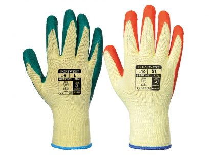 Grip Glove - Portwest A100 Latex Palm, ANSI Abrasion A2, Available in orange or Green